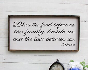 Bless The Food Before Us Wood Sign, Dining Room Decor, Farmhouse Decor, Large Wall Art, Quotes, Inspirational, Rustic Decor, Wooden Signs
