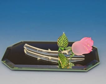 Handmade Blown Glass - Pink Frosted Rose
