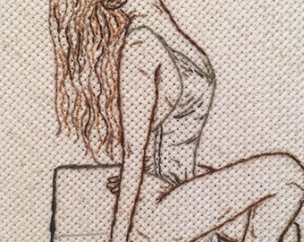 Sunning Woman Embroidery Wall Hanging