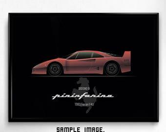 Ferrari F40 fan art, classic sport car, minimal printable, stylish poster, quality wallart, minimalism, retro style, wall decor, men gift