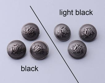 10pcs 15mm round metal embossed button 2 colors black/light black button vintage button