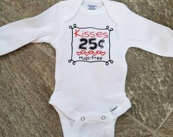 Kisses 25 cents Hugs Free, Baby Boy, Baby Girl, Baby Bodysuit