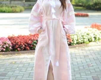 Ballet Pink Fancy Dress With Embroidery Ethnic Boho Embroidered Vyshyvanka Long Sleeve Custom Bohemian Dress Ukrainian Embroidery