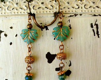Blue Opalite Maple Leaf Earrings With Copper Accents