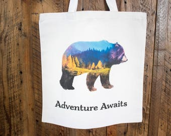 Watercolor grizzly bear tote bag - adventure awaits canvas travel bag