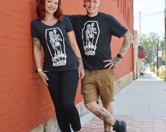 Til Death. Cotton Black T-Shirt. 'Till death do us part' Super Soft unisex fit tee. Skeletons / Skulls / Wedding / Original Art / Marriage