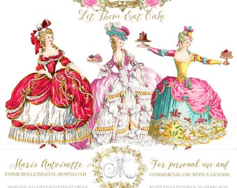 Marie Antoinette paper doll printable, for invitations, cards, Let them eat cake, instant digital download, personal, commercial use