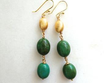 Modern Green Arizona Turquoise Linked Earrings in Gold Vermeil...