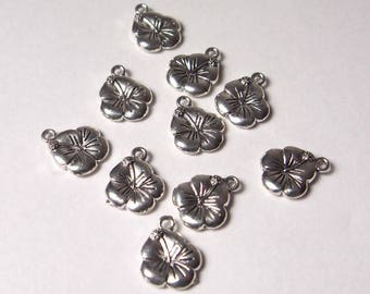10 Tropical Hibiscus Flower Charms  ~ Jewelry Supplies ~ Silver Charm ~ Beach Ocean Jewelry ~ Surf Gypsy Jewelry