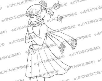Digital Stamp Chilly Day Girl, Digi Download, Autumn Fall Winter, Scarf, Thinking of You, Clip Art, Coloring Page, Scrapbooking Supplies