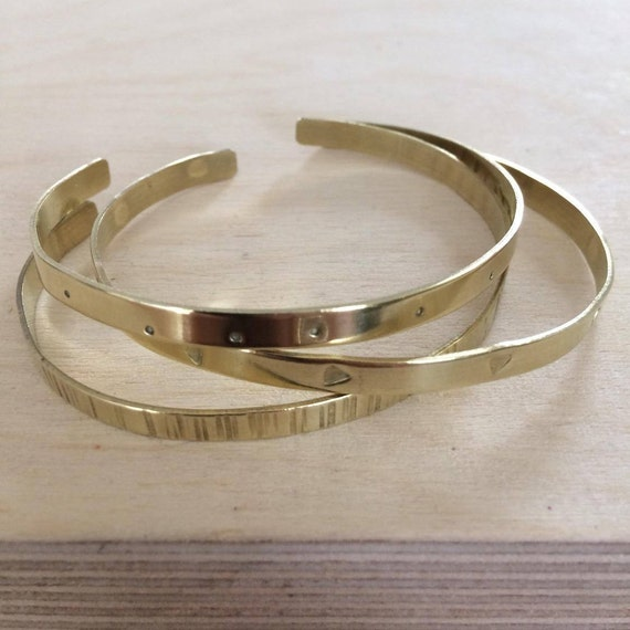 Trio of Brass Cuffs in Gift Box - Birthday - Thank You - Love -