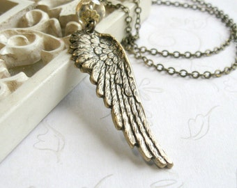 Angel wing necklace, feather pendant, brass wing, nature jewlery, gift for her