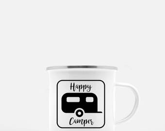 Happy Camper Mug. Camp Mug. Coffee Mug. RV Mug. Cast Iron Mug. Camping Mug. Camping gift. RV gift. Personalized Mug. Custom Coffee Mug
