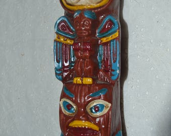 Vintage Native American Totem Pole Paper Mache Piggy Bank Made in Japan