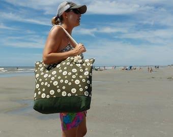 Beach Bag - Organic Beach Bag - Beach Tote Bags - Ethically Made Beach Bags- Ethical Fashion- Ethical Beach Gear-  Monogram beach bag