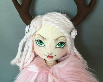 Pink Haired Deer Wood Nymph Doll, Mori Girl Gothic Art Cloth Rag Doll, Antlers Fur collar vintage lace and fabrics, pastel fawn fairy doll