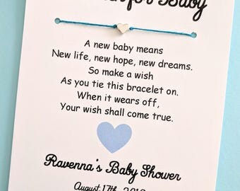 A Wish for Baby - Love and Hearts Theme - Wish Bracelet Party Favor Custom Made for You