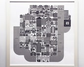 "Halifax on 1 April 1996 24"" Square Silkscreened Art Print by Raymond Biesinger"
