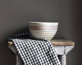 Antique Stoneware Mixing Bowl, Vintage Kitchen, Farmhouse Decor