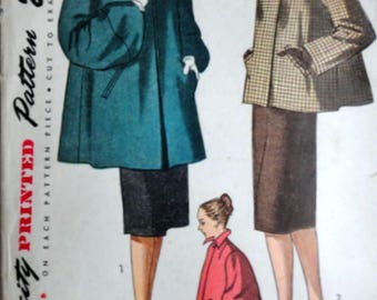 Vintage 40's Sewing Pattern, Simplicity 1716 Coat, Swing Coat, Size 14, 32 Bust, 1940's Women's Fashion