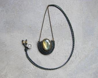 Labradorite Brass Pendant Micro Macramé . Modern Textile  Jewelry . Grey and Gold . Fiber Jewellery . Design by .. raïz ..