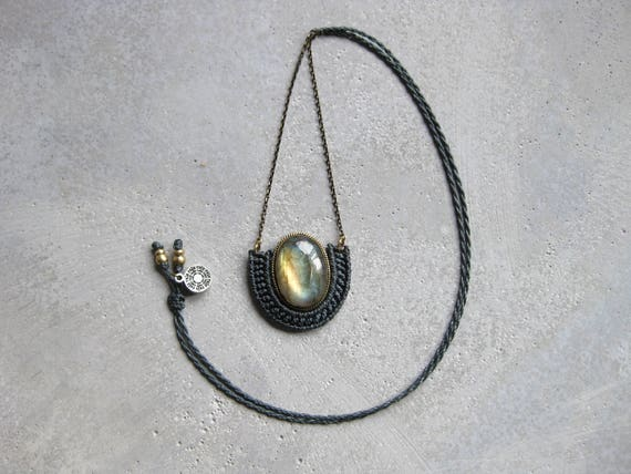 O r ü n . Adjustable Pendant Featuring Labradorite Set in Brass .  Jewelry © Design by .. raïz ..