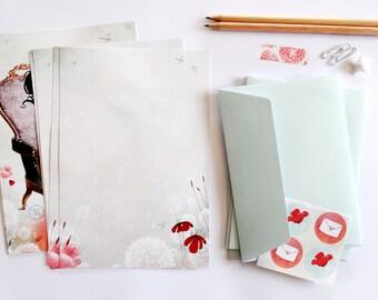 Letter Writing Set - Illustrated paper letter set with envelopes - The Love Letter - Vermilion - Baby Blue
