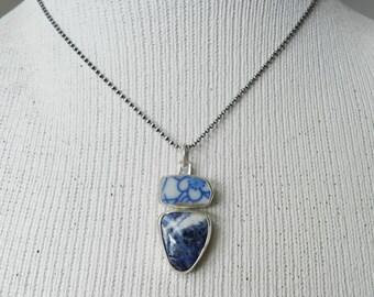 Japanese Blue-White Beach Shard Pottery, Sodalite & Sterling Double Stone Necklace~Feminine-Artisan Metalsmith