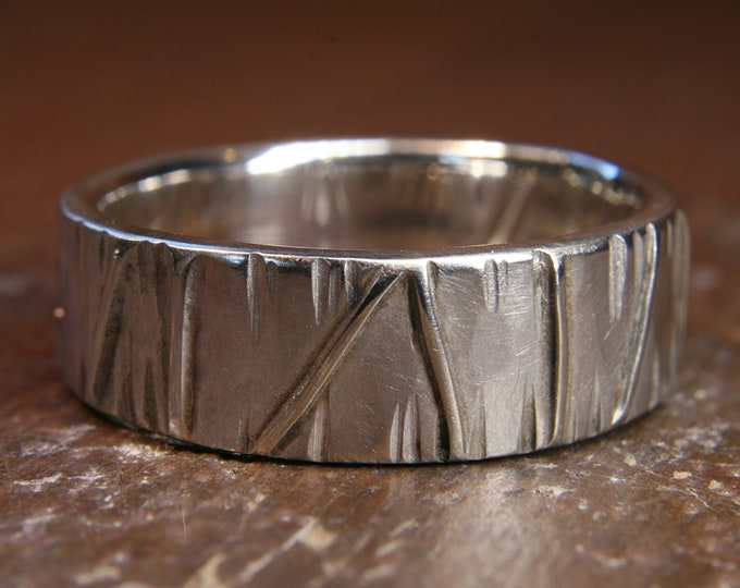 Eco Gothic 6mm wide wedding ring. Hand made in the UK