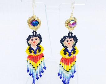 Beaded fringe and Crystal Lady Statement Earrings (Super Lightweight!)- Del Amor