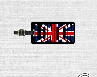 Luggage Tag London Union Jack Flag England Trip Metal Luggage Tag With Custom Info On Back, Single Tag