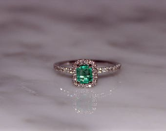 Emerald Ring, Columbian Emerald Engagement Ring, Emerald Cut Emerald, Emerald Diamond Ring, Emerald, Emerald Gemstone Ring, Appraisal Incl.
