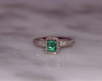 Columbian Emerald Engagement Ring,  Emerald Ring, Emerald Cut Emerald, Emerald Diamond Ring, Emerald, Emerald Gemstone Ring, Appraisal Incl.