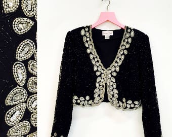 Vintage 1980s-90s Lawrence Kazar Beaded Bolero V Neck Evening Jacket Size L