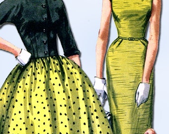 1950s Original Vintage Simplicity Pattern 1412 Esay Misses Dress & Bolero Sz 29B
