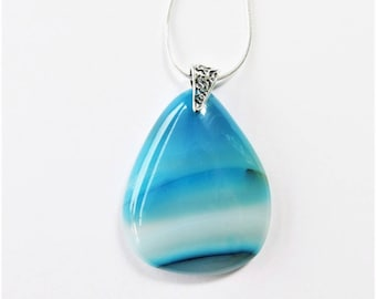 Blue Onyx Agate Pendant, Teal Turquoise Teardrop Agate Necklace, Natural Stone Jewelry, Gemstone Jewelry,