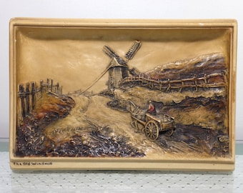 "vintage The Old Windmill ""Ivorex"" plaque, (c) Osborne. Made in England, hard to find subject."