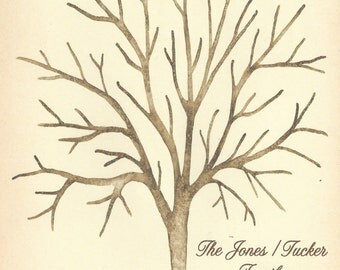 Oak Thumbprint Signature Tree for Jones.Tucker Family XX-Small Up to 80 guests 11' x 14 Watercolor. 4 dew drop ink pads. 2 brown pens