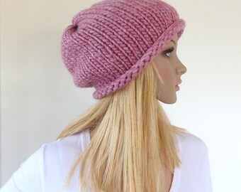 Pink slouchy hat Pink beanie hat Chunky Knit hat Womens