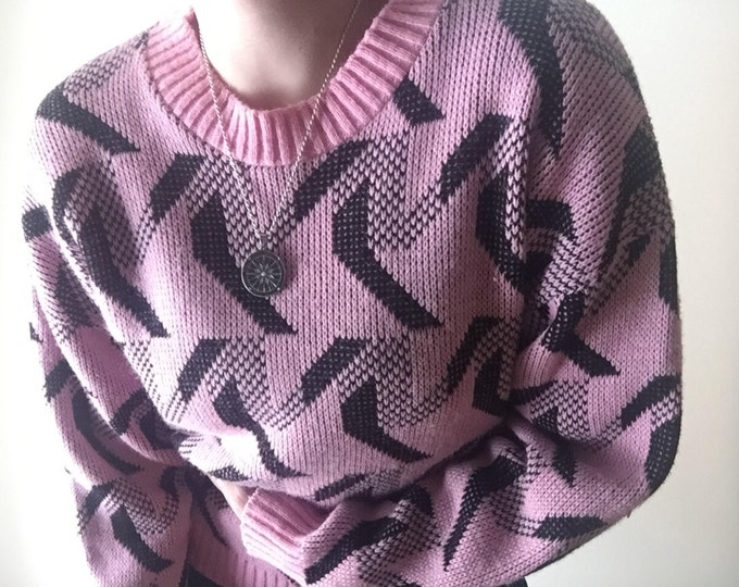 New Wave Sweater   80s vintage geometric tessellation print black // pastel pink goth ribbed o neck chunky knit long sleeve pullover jumper