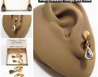 Avon Blue Aquamarine Teardrop Clip On Earrings Gold Tone Vintage 1977 Austrian Glass Birthstone Faceted Glass Stone Bezel Set Wide Band Edge