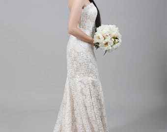 Champagne lace wedding dress, strapless wedding dress, all over lace wedding dress, venice lace wedding dress