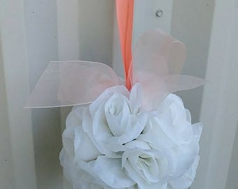Wedding flower ball, Pomander peach and white Wedding decorations, Ceremony Aisle pew markers