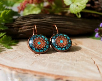 Brown And Turquoise Kaleidoscope Earrings, Antique Copper, Glass Dome Earrings
