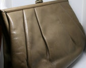Vintage Purse / 60s Japanese Kidskin Leather Clutch / Tan Taupe Bag / Wallet