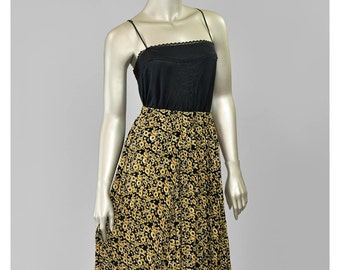 Vintage 90s Skirt 1990s Sunflower Print Chiffon Skirt Gold and Black Floral Maxi Skirt Broomstick Pleated Boho Summer Skirt
