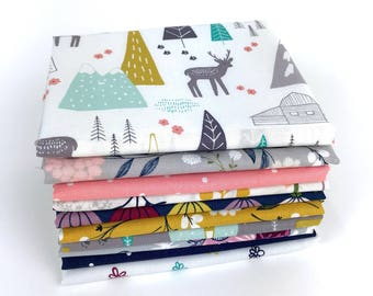 Baby fabric bundle of 10 Fat Quarters, adventure awaits Baby fabric 100% cotton fabric for Quilting and general sewing projects.