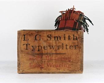 Typewriter Wood Crate, LC Smith Typewriter Crate, XL Wood Crate, Vintage Typewriter Wood Crate, Industrial Decor, Old Typewriter Crate