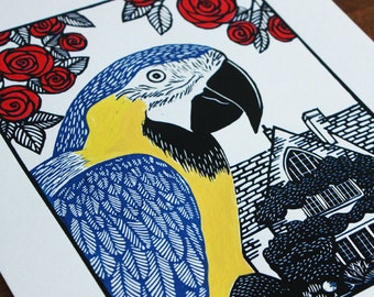 Rodney the Parrot, Blue and Gold Macaw, Original Linocut Print, Signed Limited Edition of 4, Free Postage in UK, Hand Pulled, Printmaking,