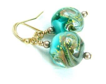 Ocean wave earrings, Beach jewelry gift, Ocean earrings, Beach earrings, Sea green earrings, Beach wedding earrings, Venetian glass jewelry
